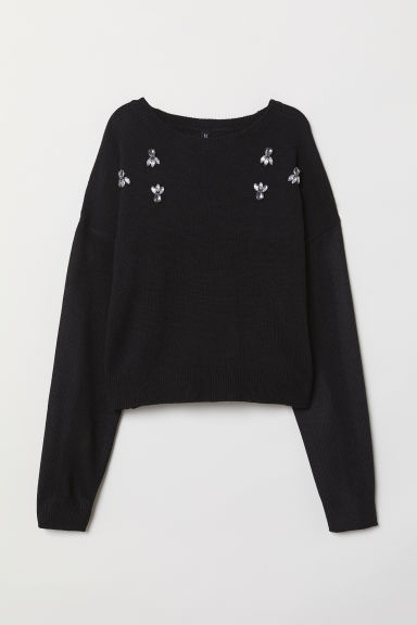 Bead-patterned jumper - Black -  | H&M