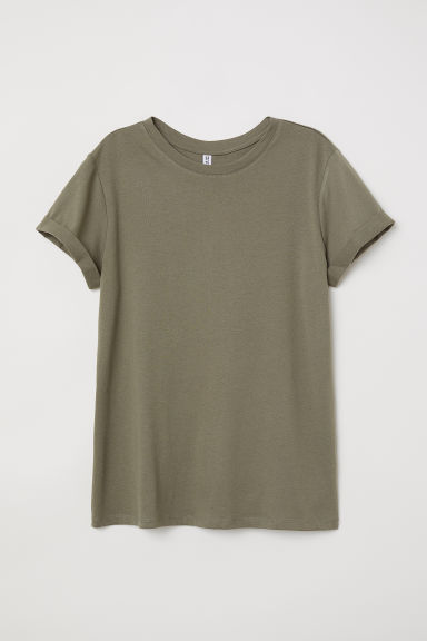 T-shirt - Dark khaki green - Ladies | H&M