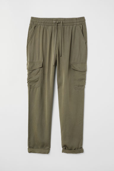 Lyocell cargo trousers - Khaki green - Ladies | H&M CN