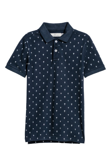 Polo shirt - Dark blue/Palm trees - Kids | H&M CN