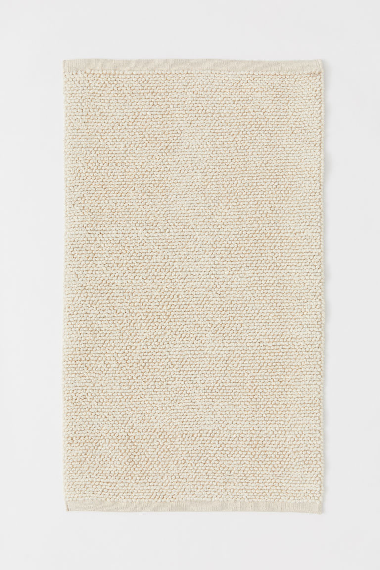 Textured-weave wool-blend rug - Light beige - Home All | H&M CN
