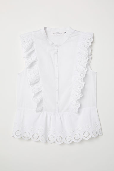 Bluse mit Broderie Anglaise - Weiß - Ladies | H&M AT