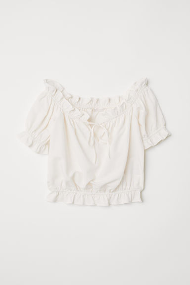 Off-the-shoulder blouse - Cream - Ladies | H&M CN