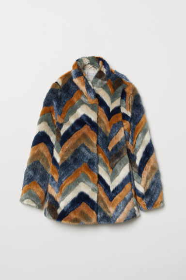 Faux fur jacket - Blue/Multicoloured - Ladies | H&M