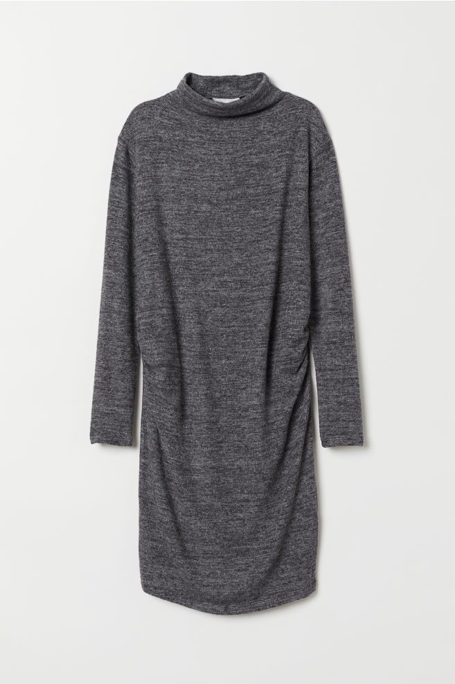 ff39b51be4 MAMA Fine-knit Dress - Dark gray melange - Ladies