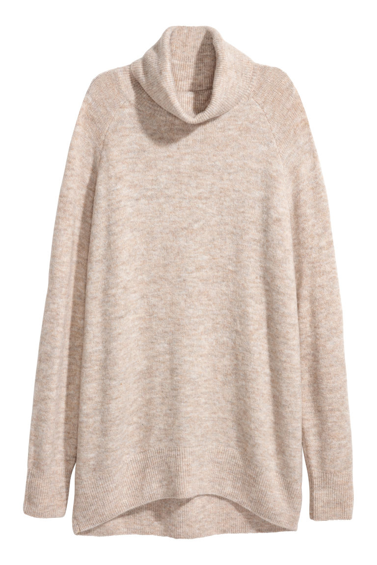 Knitted polo-neck jumper - Beige marl - Ladies | H&M GB