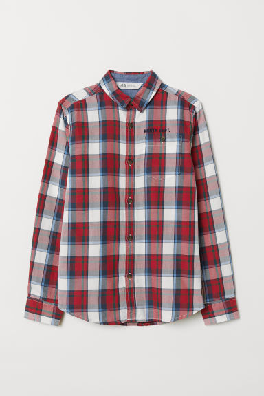 Cotton shirt - Red/White checked - Kids | H&M