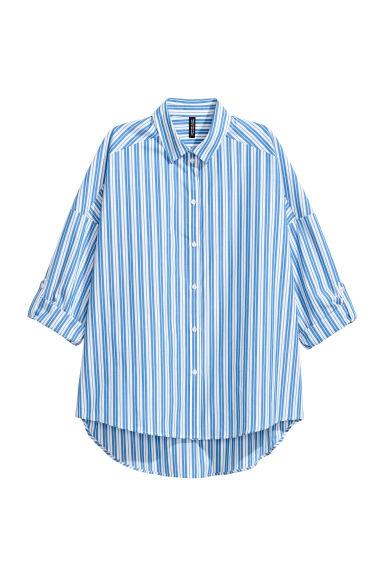 Oversized shirt - Blue/White striped - Ladies | H&M CN