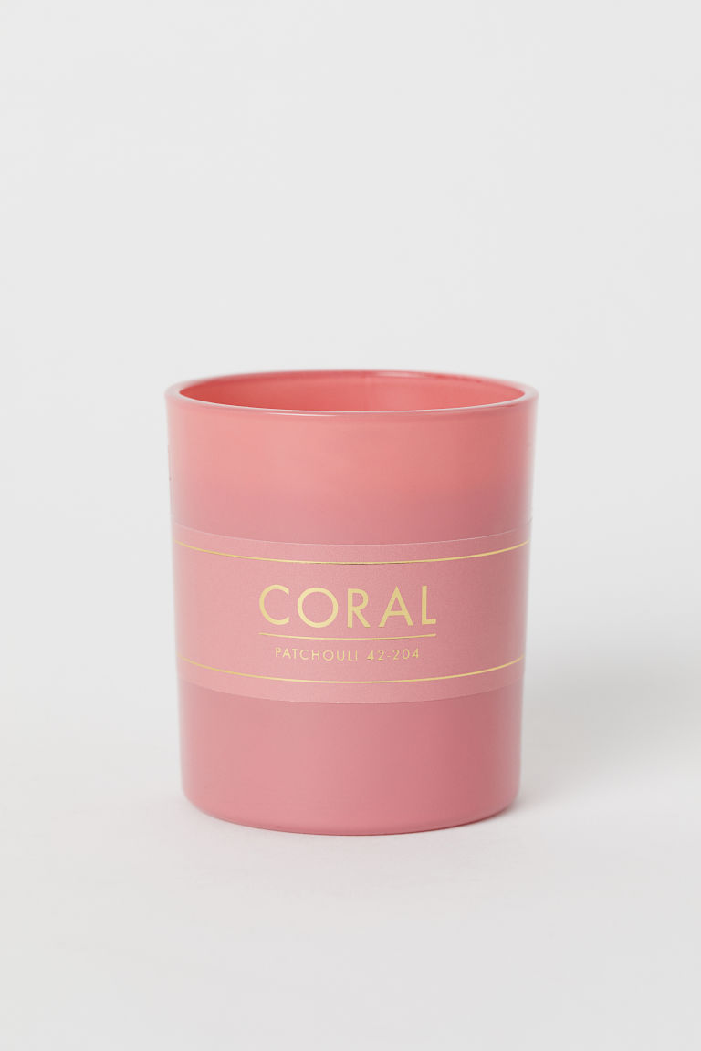 Scented Candle in Glass Holder - Coral/Patchouli - Home All | H&M CA