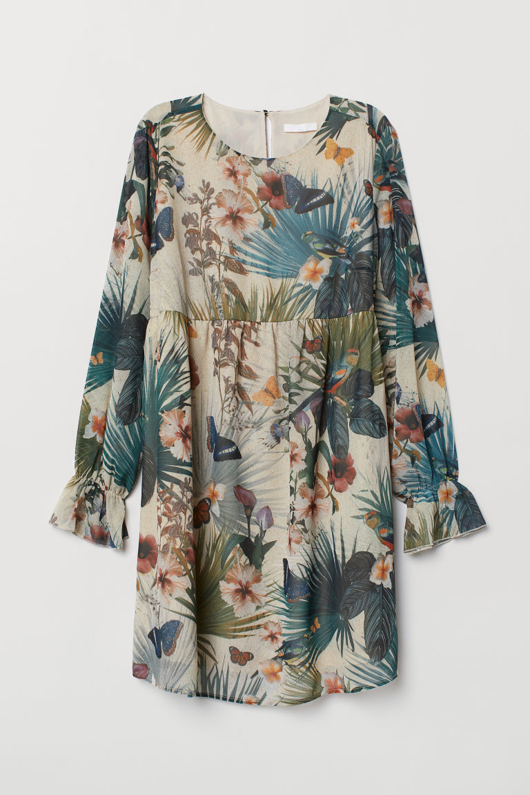 MAMA Patterned tunic - Light beige/Floral - Ladies | H&M CN