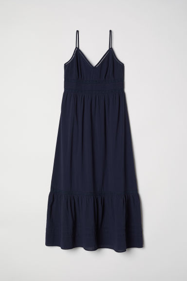 Long dress with lace details - Dark blue - Ladies | H&M CN