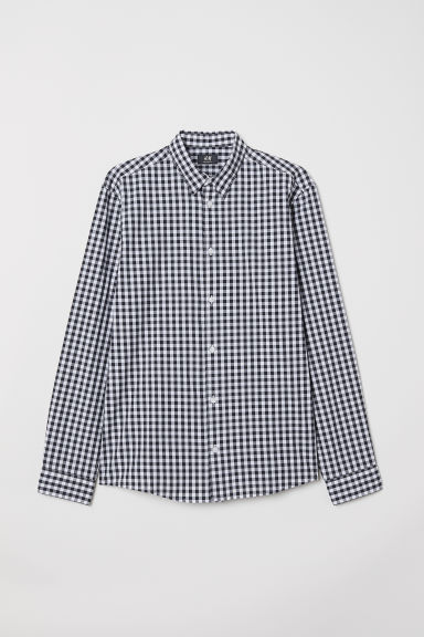 Poplin shirt Regular Fit - Black/White checked - Men | H&M CN