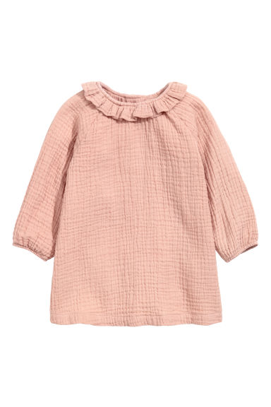 Crinkled cotton dress - Old rose - Kids | H&M CN