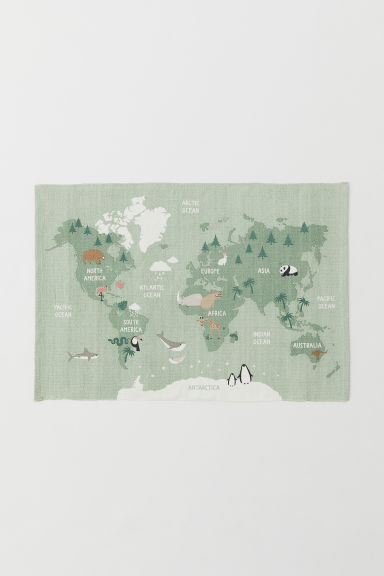 World map cotton rug - Light green/Animals - Home All | H&M CN
