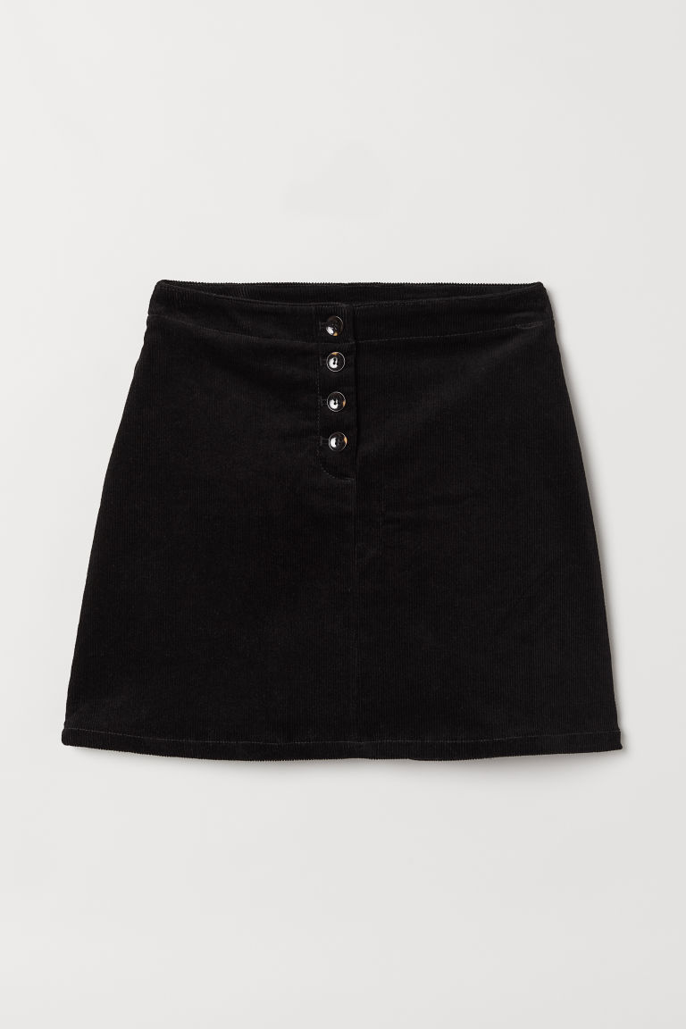 Corduroy skirt - Black -  | H&M CN