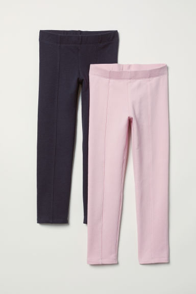 2-pack sturdy jersey leggings - Dark blue/Pink - Kids | H&M