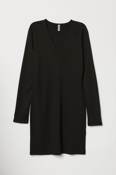V-neck jersey dress - Black -  | H&M CN