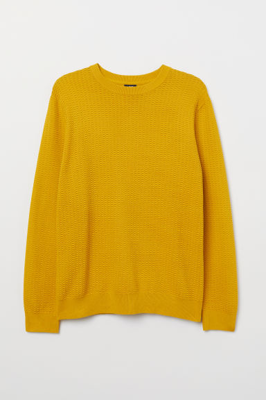 Textured-knit jumper - Yellow - Men | H&M