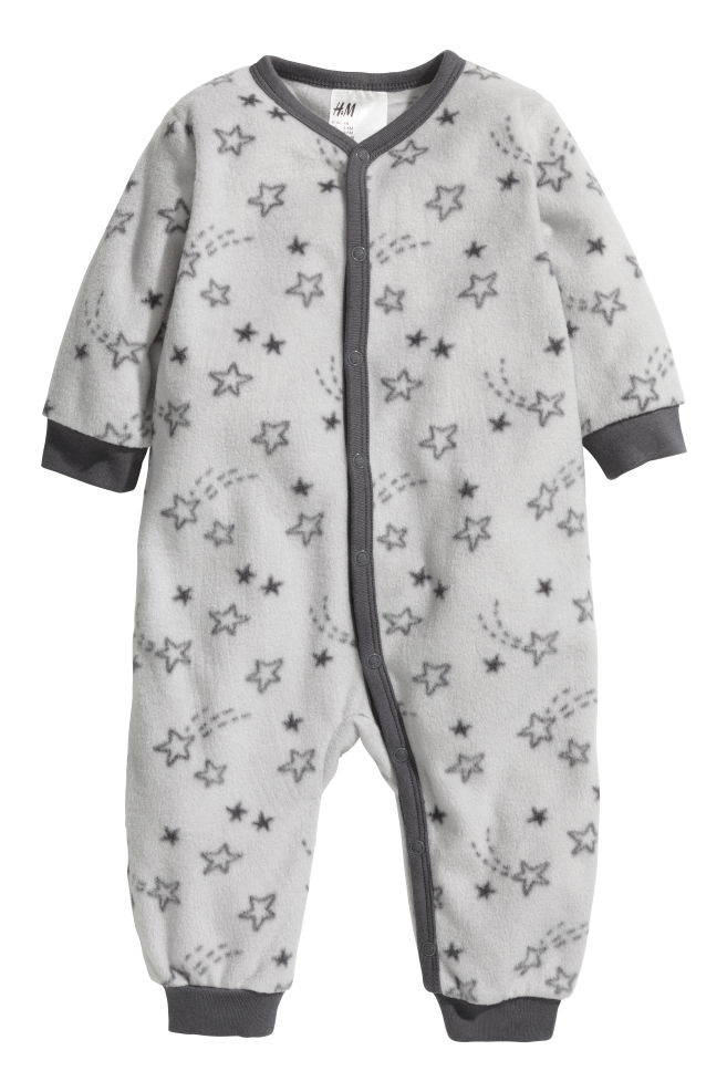 4b22a7ee5f62 Fleece all-in-one pyjamas - Light grey Stars - Kids