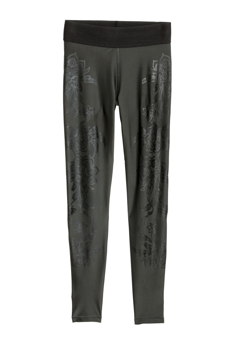Sports tights - Dark green/Floral - Ladies | H&M CN