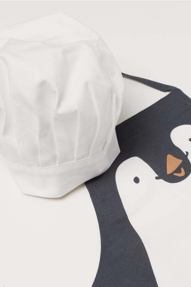 Delantal y gorro de chef - Gris oscuro Pingüino - HOME  5fff505caf5