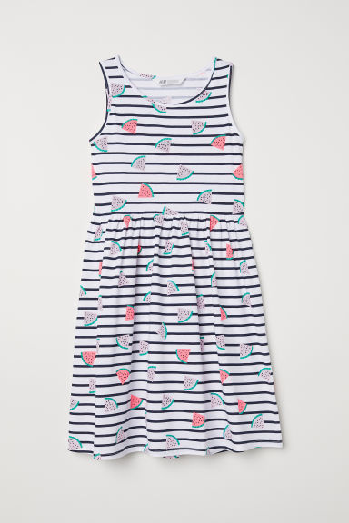 Patterned jersey dress - White/Watermelon - Kids | H&M
