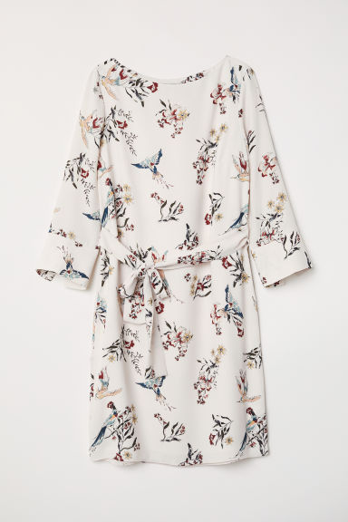 Dress with a tie belt - Natural white/Floral - Ladies | H&M