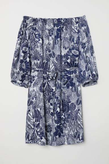 Off-the-shoulder dress - White/Dark blue patterned - Ladies | H&M