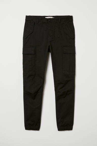 Cotton twill cargo joggers - Black - Men | H&M CN