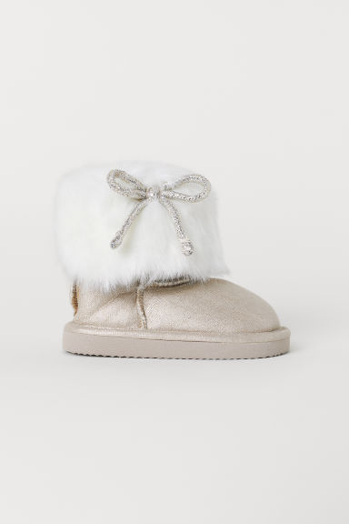 Warm-lined boots - White/Shimmering gold-coloured - Kids | H&M CN