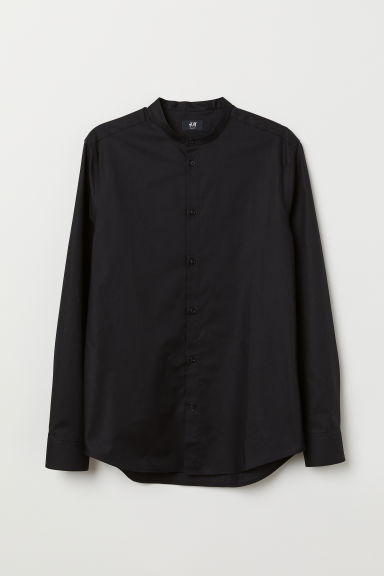 Grandad shirt Slim fit - Black - Men | H&M CN