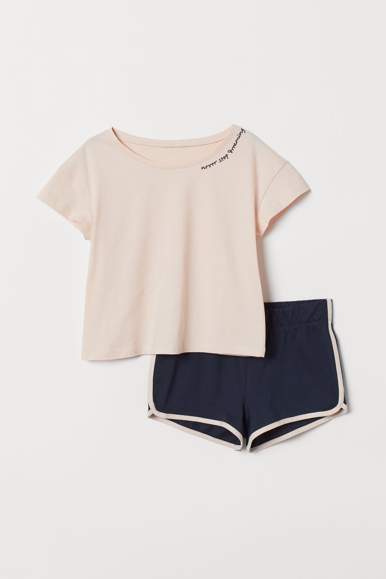 Jersey pyjamas - Powder pink/Dark blue - Kids | H&M IN