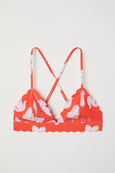 Triangle bikini top - Coral red/Floral - Ladies | H&M