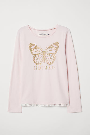 Printed jersey top - Light pink/Butterfly - Kids | H&M CN