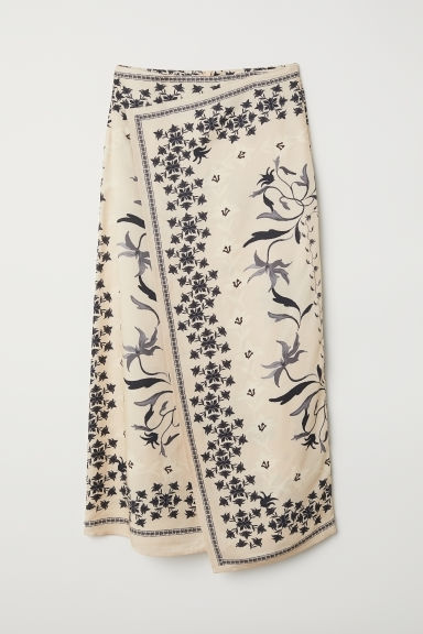 Patterned skirt - Light beige/Patterned - Ladies | H&M