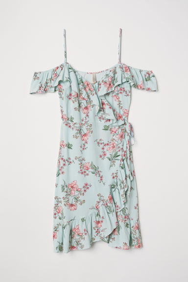 Cold shoulder dress - Light turquoise/Floral - Ladies | H&M CN