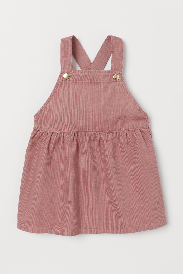 Corduroy dungaree dress - Old rose - Kids | H&M