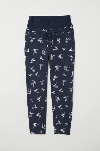 MAMA Wide trousers - Dark blue/Birds - Ladies | H&M