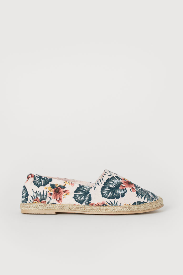 Espadrilles - Light pink/Leaf-patterned - Ladies | H&M