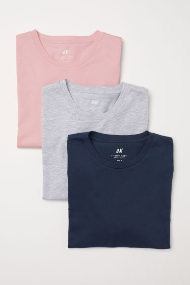 T-shirts Regular Fit, pack-3 - Rosa - HOMEM | H&M PT