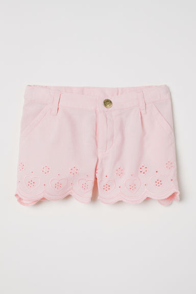 Embroidered cotton shorts - Pink -  | H&M