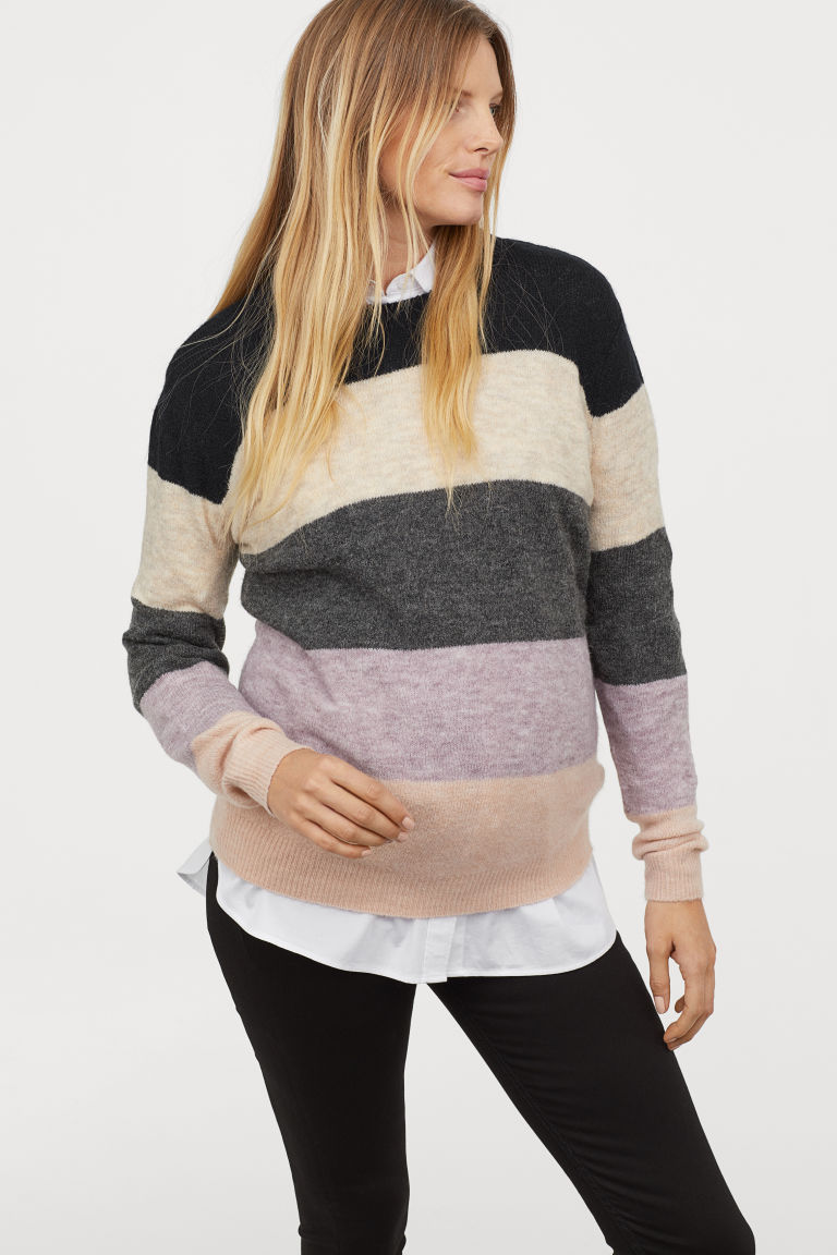 MAMA Pullover color block - Blu scuro/color block - DONNA | H&M IT