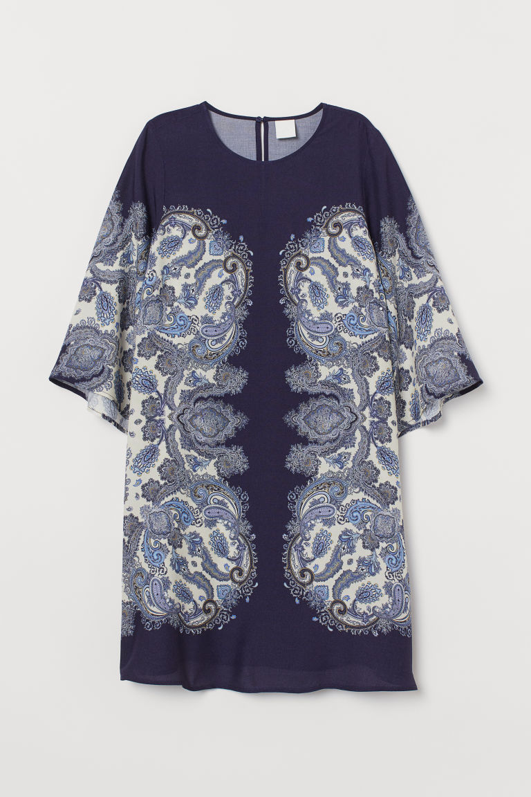Short dress - Dark blue/Paisley-patterned - Ladies | H&M
