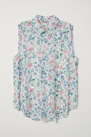 H&M+ Crêpe blouse - White/Floral - Ladies | H&M