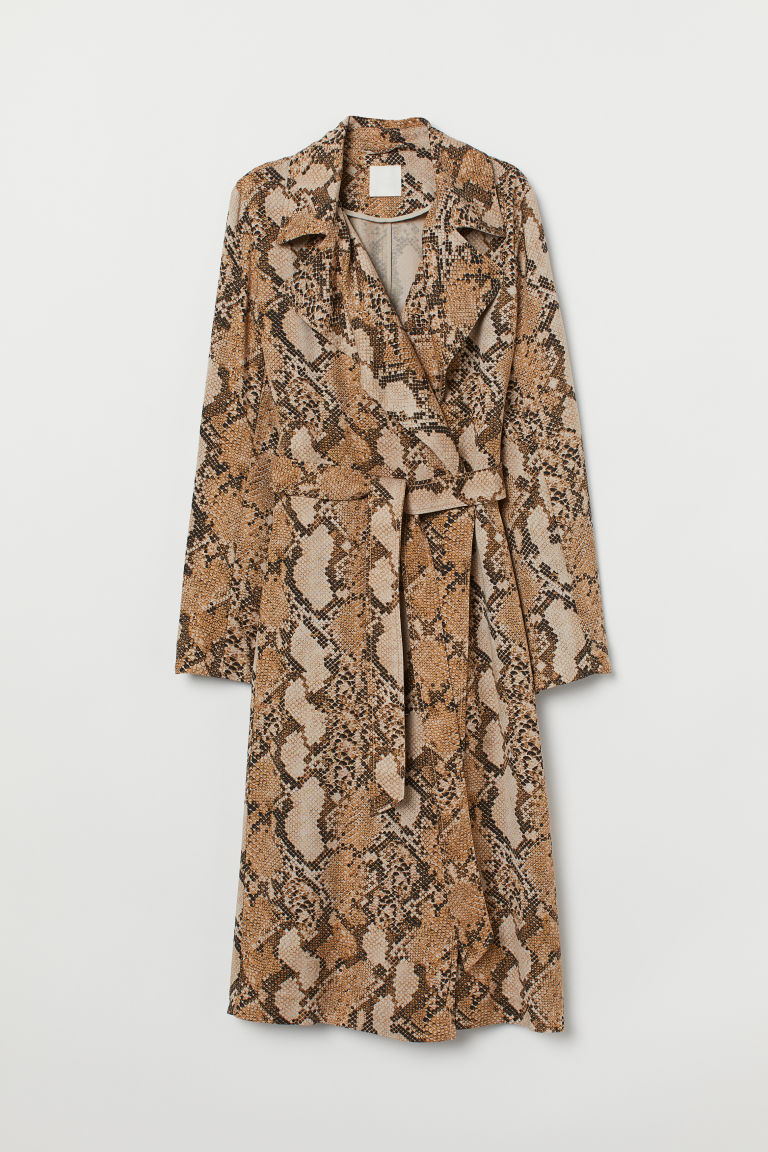 Lyocell trenchcoat - Beige/Snakeskin-patterned - Ladies | H&M GB