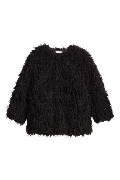 H&M+ Short faux fur coat - Black - Ladies | H&M CN