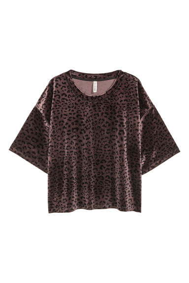 Patterned velour top - Plum/Leopard print - Ladies | H&M CN
