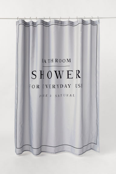 Text-print shower curtain - Light grey - Home All | H&M GB