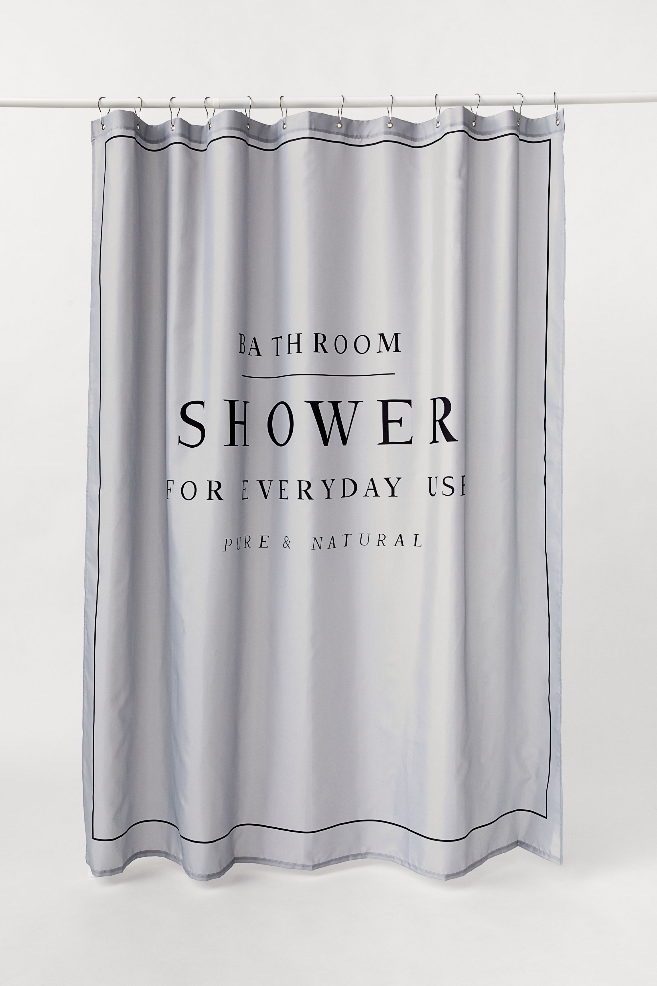 Text Print Shower Curtain Light Gray Home All Hm Us