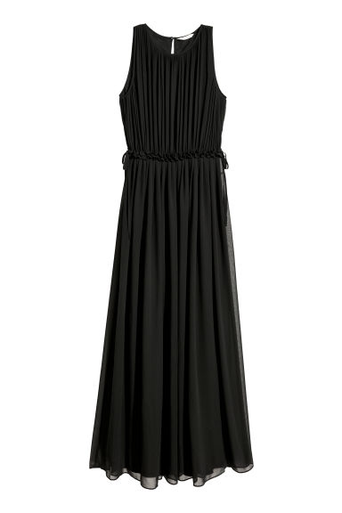 Long chiffon dress - Black - Ladies | H&M CN